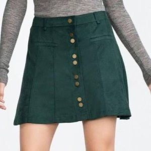 Zara Green Suede Skirt